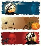 Halloween,Banner,Frame,Spider,Pumpkin,Autumn,Holiday,Tree,House,Decoration,Silhouette,Grunge,October,Dirty,Human Skull,Old,Black Color,Celebration,Bat - Animal,Halloween,Vector Cartoons,Parties,Holidays And Celebrations,Light - Natural Phenomenon,Illustrations And Vector Art,Night