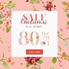 Square,No People,Flower,Banner,Placard,Illustration,Banner - Sign,Sale,Hydrangea,Vector,Floral Pattern