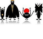 Monster,Zombie,Bizarre,Vampire,Cute,Alien,Cartoon,Animal,Gothic Style,Ghost,Spooky,Vector,ghoul,Shock,Black Color,Halloween,Horned,Halloween,Evil,Animal Teeth,Standing,Holidays And Celebrations,Horror,Fear,Demon