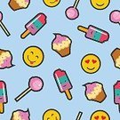 Square,No People,Candy,Anthropomorphic Smiley Face,Background,Emoticon,Cute,Lollipop,Cartoon,Illustration,Symbol,Flavored Ice,Food,Seamless Pattern,Cupcake,Backgrounds,Frozen Food,Dessert,Cake,Ice Cream,Smiley Face,Vector,Sweet Food,Muffin,Pattern,Colors
