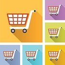 Vertical,E-commerce,Square Shape,Cable Car,Holiday - Event,Illustration,Shadow,Icon Set,Computer Icon,Symbol,Flat,Shopping,Shopping Cart,Modern,Vector,Multi Colored,Colors