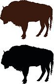 Vertical,Cut Out,Silhouette,No People,Animal,Mammal,African Buffalo,Hoofed Mammal,Illustration,Herbivorous,Vector,Bull - Animal,American Bison,Black Color,Brown