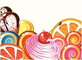 Candy,Ice Cream,Cake,Food,Frame,Lollipop,Fruit,Cream,Restaurant,Chocolate,Cafe,Fun,Melting,Pink Color,Sweet Food,Cherry,Vector,Pampering,Gourmet,Seasoning,Ready-To-Eat,Dessert,Liquid,Syrup,Slice,Flowing,Multi Colored,Unhealthy Eating,Snack,Freshness,Orange - Fruit,Horizontal,Chocolate Candy,Insurance,Ripe,Orange Color,Celebration,Bright,Joy,Dark,Red,Brown,Yellow,Illustrations And Vector Art,Isolated On White,Food And Drink,Vibrant Color