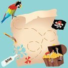 Pirate,Treasure Map,Map,Invitation,Treasure Chest,Parrot,Message in a Bottle,Vector,Skull and Crossbones,Ilustration,Scavenger Hunt,Human Skull,Flag,Gold,Birthdays,Parties,Holidays And Celebrations,Vector Cartoons,Handgun,Copy Space,Gun,Illustrations And Vector Art
