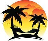 Hammock,Palm Tree,Relaxation,Tropical Climate,Silhouette,Sunset,Vector,Sun,Computer Graphic,Ilustration,Sunlight,Landscape,Beaches,Landscapes,Illustrations And Vector Art,Nature,Travel Locations