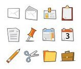 Name Tag,Personal Organizer,Symbol,Straight Pin,Calendar,Computer Icon,File,Icon Set,Vector,Office Interior,Internet,Pencil,Scissors,Document,Mail,Briefcase,Paper,Letter,Clipboard,Envelope,Label,Ring Binder,Illustrations And Vector Art,Isolated On White,Isolated Objects,Vector Icons