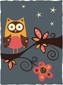 Owl,Ilustration,Branch,Night,Vector,Tree,Bird,Flower,Pattern,Star - Space,Leaf,Nature,Heart Shape,Birds,Flowers,starry night,Animals And Pets,Nature