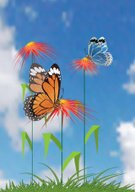 Butterfly - Insect,Blue,Red,Flower,Sky,Scenics,Plant Attribute,Nature,Temperate Flower,Yellow,Vector,Nature,Vector Florals,Flowers,Illustrations And Vector Art,Cloud - Sky,Plant
