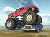Adventurous Sports,drive over,Horizontal,Conquering Adversity,Bizarre,Competition,Performance,USA,Pick-up Truck,Stunt,Motorsport,Car,Wheel,Cloud - Sky,Illustration,Motorsport Event,Sky,Extreme Sports,Showing,Tire,Sports Race,Event,Large,Land Vehicle,Three Dimensional,Large,Monster Truck,Fun,Blue,Red
