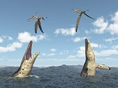underwater wildlife,PLIOSAUR,Horizontal,Paleontology,Animal,Sea,Cloud - Sky,Aquatic,Illustration,Animals Attacking,Nature,Extinct,Sky,Flying,Wave,Pterosaur,Prehistoric Era,Pteranodon,Three Dimensional,Reptile,Sea Life,Blue
