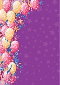 Birthday,Fete,Balloon,Party - Social Event,Purple,Backgrounds,List,Flower,Star - Space,Orange Color,Backdrop,Streamer,Pink Color,Blue,Celebration Event,Celebration,Holiday,Multi Colored,Vector,Joy,Anniversary,Star Shape,Red,Ilustration,Petal,Mid-Air,Illustrations And Vector Art,Ribbon,Fun