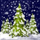 Square,No People,Illustration,Pinaceae,Fir Tree,Winter,Night,Forest,Snow,Snowing