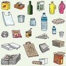 Recycling,Garbage,Group of Objects,Plastic,Bottle,Paper,Bag,Can,Water Bottle,Vector,Newspaper,Container,Sketch,Crumpled,Box - Container,Paper Bag,Metal,Aluminum,Milk,Environment,Shopping Bag,Jar,Drink Can,String,Drink,cardbox,Household Objects/Equipment,Brown Paper,Lined Paper,Vector Icons,Consumerism,Illustrations And Vector Art,Objects/Equipment,Concepts And Ideas