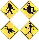 Yeti,Sasquatch Crossing Sign,Loch Ness Monster,Sea Monster,Monster,Alien,Crossing Sign,Animal Crossing Sign,Pedestrian Crossing Sign,Ghost,Mythology,Fantasy,Mystery,Road Sign,Illustrations And Vector Art,Vector Icons,Animals And Pets,Isolated Objects,Animal,Safety,Cultures,Tall Tale