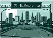 Freeway Sign,Horizontal,Baltimore - County Cork,No People,Built Structure,Cityscape,Road,Travel Destinations,Outdoors,Urban Skyline,Two Lane Highway,Street,Multiple Lane Highway,Famous Place,Skyscraper,Downtown District,Illustration,Building Exterior
