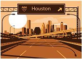 Freeway Sign,60595,Horizontal,USA,Texas,Houston - Texas,Gulf Coast States,No People,Built Structure,City,Cityscape,Road,Travel Destinations,Outdoors,Urban Skyline,Two Lane Highway,Street,Multiple Lane Highway,Famous Place,Skyscraper,Downtown District,Illustration,Building Exterior,Travel