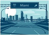 Freeway Sign,60595,Horizontal,Florida - US State,Miami,USA,Gulf Coast States,Miami Beach,No People,Famous Place,Outdoors,Travel Destinations,Skyscraper,City,Illustration,Multiple Lane Highway,Street,Travel,Urban Skyline,Building Exterior,Road,Two Lane Highway,Built Structure,Downtown District,Cityscape