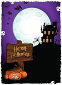 Vertical,Celebration,Spooky,Greeting Card,Cartoon,Cards,Illustration,Human Skull,Cross,Full Moon,Cross Shape,Poster,October,Rook - Chess Piece,Inviting,House,Invitation,Dead,Autumn,Night,Fear,Horror,Halloween,Cemetery,Bat - Animal,Pumpkin,Castle,Tree,Vector,Animated Cartoon,November,Party - Social Event,Label,Dark