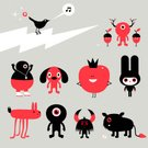 Monster,Alien,Tomato,Characters,Men,Cartoon,Vector,Ilustration,Dog,Bird,Singing,Rabbit - Animal,Branch,Standing,Horned,Modern,Character Traits,Vector Cartoons,Illustrations And Vector Art,Nature,Staring,Concepts And Ideas,Animals And Pets