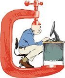 Cubicle,Uncomfortable,Office Chair,Office Worker,Sitting,Men,Computer,Desk,Enclosure,Business Symbols/Metaphors,Success,Frustration,Concepts And Ideas,Business,Red,Blue,Typing