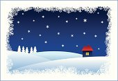 Christmas,Snow,Frame,House,Winter,christmas frame,Star - Space,Tree,Night,White,Snowing,Vector,Residential Structure,Hill,Blue,Outdoors,vectorized,Ilustration,Cold - Termperature,snowtime,stilised,Color Image,stilyzed,Illustrations And Vector Art,Holidays And Celebrations,Christmas
