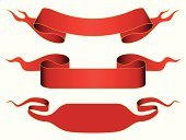Banner,Ribbon,Vector,The Past,Bow,Design,Illustrations And Vector Art,Red,Set,Blank,Antique,Abstract,Curled Up,Label