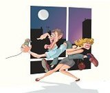 Fighting,Video Game,Women,Couple,Pulling,Conflict,Men,Mini Skirt,Relationships,Vector Cartoons,Lifestyle,Illustrations And Vector Art,Moon,Window,Night