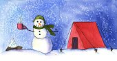 Christmas,Camping,Coffee - Drink,Winter,Tent,Snowman,Humor,Watercolor Painting,Snow,Campfire,Outdoors,Night,Ilustration,Fun,Food And Drink,Frozen,Front View,Snowing,Christmas,Holidays And Celebrations,People,Horizontal,Smiling,Food And Drink,Adventure,Cheerful,Remote,Happiness,Drinks