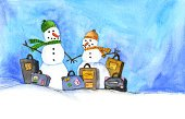 Travel,Snowman,Winter,Suitcase,Snow,Watercolor Painting,Couple,Journey,Cold - Termperature,Ilustration,Cheerful,Holidays And Celebrations,Anticipation,Tourist,Frozen,Christmas,Outdoors,Smiling,Medium Group of Objects,Togetherness,Travel Locations,Holidays,Bonding,Day,Holding Hands,Abundance,Horizontal