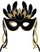 Mask,Costume,Party - Social Event,Eye Mask,Halloween,Feather,Black Color,Vector,Gold Colored,Personal Accessory,Fashion,Ornate,Ilustration,Elegance,Computer Graphic,Ribbon,Parties,Fashion,Halloween,Beauty,Beauty And Health,Holidays And Celebrations