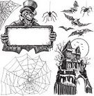 Halloween,Human Skull,Spider,Vector,Human Skeleton,Spider Web,haunted house,Horror,Spooky,Invitation,Bat - Animal,Monster,Sign,Ilustration,Evil,Top Hat,Fear,Bow Tie,Human Bone,Black And White,Copy Space,Speculative Being,Multiple Image,Collection,Holiday,Set,Group of Objects