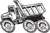 Tipper Lorry,tip truck,Tipper,Horizontal,Cut Out,Black And White,No People,Car,Cartoon,Pen And Ink,Illustration,Transportation,Dump Truck,Commercial Land Vehicle,Vector,Truck,Side View,White Background