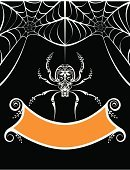 Halloween,Spider,Spider Web,Invitation,Banner,Backgrounds,Sign,Lace - Textile,Placard,Spooky,Cute,Vector,Scroll Shape,Hanging,Computer Graphic,Posing,Swirl,Ilustration,Ribbon,Halloween,Holiday Backgrounds,Holidays And Celebrations,Copy Space,Parties