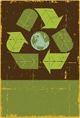 Environmental Conservation,Earth,Green Color,Recycling Symbol,Environment,Sign,Globe - Man Made Object,Grunge,Poster,Retro Revival,Old-fashioned,Nature,Old,Banner,Leaf,Vector,Obsolete,Ilustration,Distressed,Damaged,Design Element,No People,Copy Space,Communication,Nature,Concepts And Ideas,Nature Backgrounds