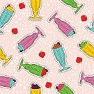 Horizontal,No People,Drink,Art And Craft,Art,Doodle,Drinking Glass,Cartoon,Milkshake,Juice,Illustration,Symbol,Strawberry,Food,Smoothie,Seamless Pattern,Patch,Backgrounds,Cocktail,Milk,Vector,Drawing - Art Product,Stitching,Multi Colored,Pattern,Textile Patch