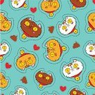Horizontal,Art And Craft,Background,Art,Domestic Cat,Doodle,Animal,Cute,Cartoon,Feline,Illustration,Symbol,Animal Markings,Animal Dung,Kitten,Seamless Pattern,Pets,Patch,Backgrounds,Animal Body Part,Animal Head,Vector,Drawing - Art Product,Domestic Animals,Stitching,Pattern,Textile Patch