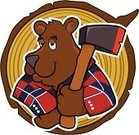 Lumberjack,Bear,Axe,Log,American Black Bear,Asian Black Bear,Plaid,Wood - Material,Tree Stump,Mascot,Red,Brown Bear,Black Color,Animals In The Wild,Animal,Animals And Pets,Sports And Fitness,Illustrations And Vector Art,Occupation,Industry,Job - Religious Figure,Hatchet,Gray,Brown,Blue