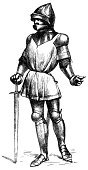 Knight,Ilustration,Medieval,Men,Middle Ages,Suit of Armor,Shield,Standing,Royalty,Protection,Chain Mail,Warrior,Historical Clothing,Antique,Christianity,European Culture,History,Obsolete,Protective Workwear,Weapon,Old-fashioned,Leadership,England,Work Helmet,People,The Past,Social History,The Crusades,Cavalry,Sword,Engraved Image
