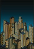 Isometric,City,Built Structure,Cityscape,Architecture,Night,Urban Scene,Building Exterior,Personal Perspective,Skyscraper,Vector,Downtown District,Architecture And Buildings,Architecture Backgrounds,Illustrations And Vector Art,Isolated Objects,Tower,Single Object,Blue,Build Structure