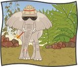 Safari,Elephant,Tropical Rainforest,Front View,Hat,Pith Helmet,Animal,Adventure,Fern,Water Bottle,Frond,African Hat,Tropical Climate,Travel,Compass,Humor,Boulder - Rock,Illustrations And Vector Art,Drawing - Art Product,Tusk,hand drawn,Palm Tree,Hand-drawn,Wild Animals,Pachyderm,Anthropomorphic,One Person,Animal Ear,Preparation,African Elephant,Sunglasses,Vertebrate,Vacations,Mammal,Aviator Glasses,hanging vines,Gray,Sun Hat,Rock - Object,Safari Animals,One Animal,Animals And Pets,big ears,Large