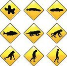 Evolution,Monkey,Symbol,Fish,Progress,Reptile,Ape,People,Silhouette,Sign,Road Sign,Clip Art,Yellow,Transportation,Journey,Vector,Growth,Rectangle