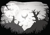 Horizontal,Abstract,No People,Background,Day,Illustration,Cultures,Night,Forest,Backgrounds,Tree,Grass,Vector,Gray,White Color,Dark,Black Color