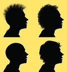 Silhouette,Profile View,Human Face,Men,Human Head,Human Hair,Back Lit,Hairstyle,Punk,Vector,Outline,Curly Hair,Black Color,Clip Art,Simplicity,Short Hair,Ilustration,Isolated,eps8