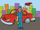 Car Wash,Car,Washing,Cartoon,Rag,Occupation,Ilustration,Computer Graphic,Waving,Vector,Manual Worker,Service,Illustrations And Vector Art,Vector Cartoons,Uniform,Drawing - Art Product,Professional Occupation