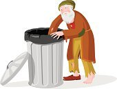 Homelessness,Beggar,Tramp,Garbage Can,Cartoon,Men,Garbage Bin,Garbage,Crying,Vector,Isolated,Living Rough,Barefoot,Sadness,Ilustration,Isolated On White,Illustrations And Vector Art,Vector Cartoons,Adults,People,Lifestyle,Torn Clothing