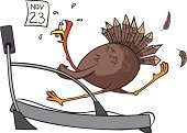 Turkey - Bird,Thanksgiving,Exercising,Treadmill,Running,Weight,Holiday,Loss,Cartoon,Autumn,Jogging,Dinner Party,Bird,Fear,Ilustration,Vector,Poultry,Worried,Holidays And Celebrations,Thanksgiving,Illustrations And Vector Art,Birds,Vector Cartoons,November,Animals And Pets
