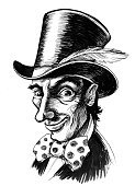 Vertical,Characters,Humor,Retro Styled,Victorian Style,Illustration,Human Body Part,Mad Hatter,Real People,Alice in Wonderland - Fictional Character,Human Face