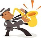 Saxophone,Jazz,Cartoon,Musician,Street Musician,Music,Playing,Blues,Hat,Passion,One Person,Simplicity,Sparse,Character Traits,Yellow,African Descent,Music,Feelings And Emotions,Arts And Entertainment,Concepts And Ideas,Suit,Part Of