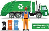 Horizontal,Cut Out,No People,Recycling,Illustration,Garbage,Social Issues,Commercial Land Vehicle,Vector,Truck,Green Color