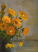 Flower,Paintings,Vase,Painted Image,Field Marigold,Yellow,Flower Arrangement,Art Product,Frame,Gray,Green Color,Ilustration,Ceramics,Oil And Acrylic,Flowers,Color Image,No People,Visual Art,Nature,Arts And Entertainment,Design,Flower Head,Vertical,Buttercup Family